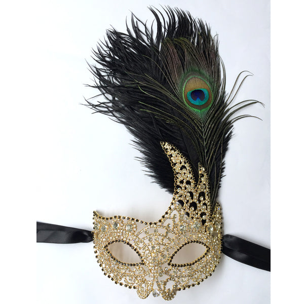 Gold Masquerade Mask, Gold Rhinestone Carnival Party Mask, Prom Dance Mask, Formal Mask Makeup