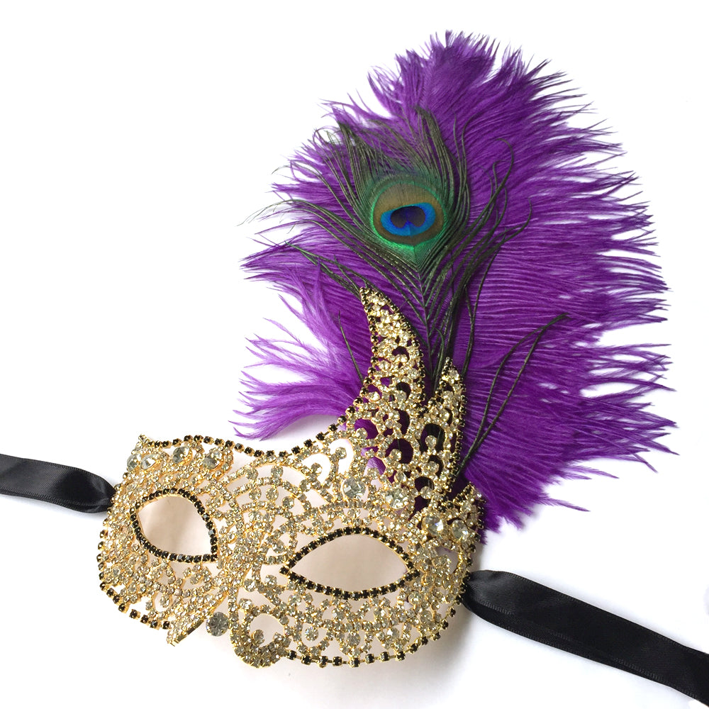 Gold Masquerade Mask, Gold Rhinestone Costume Mask, Masquerade Party