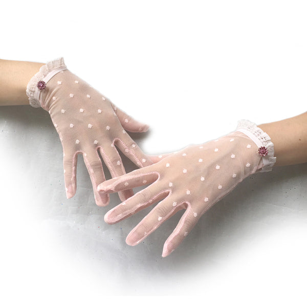 Pink Polka Dot Lace Gloves with Pink Rhinestone Jewelry, Pink Gloves