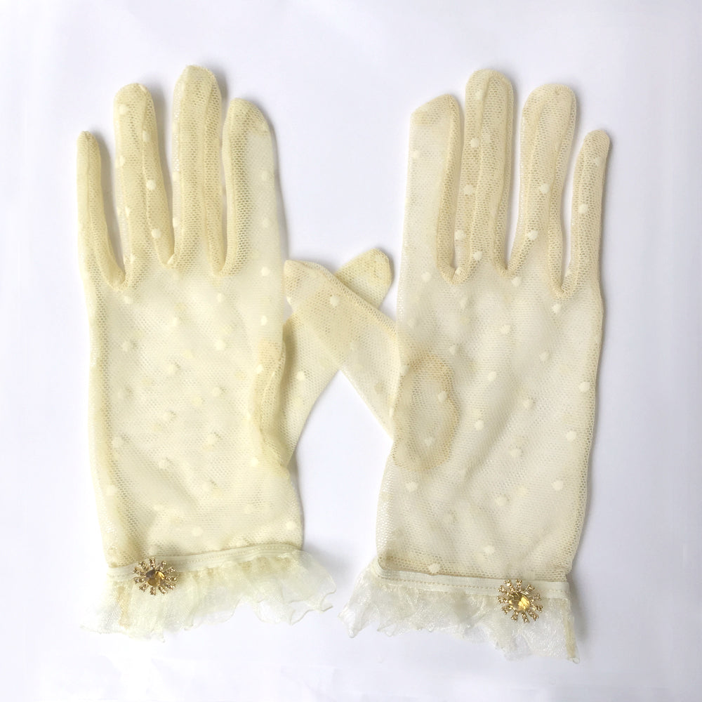 Ivory Polka Dot Lace Gloves, Cream Lace Gloves with Rhinestone Jewelry