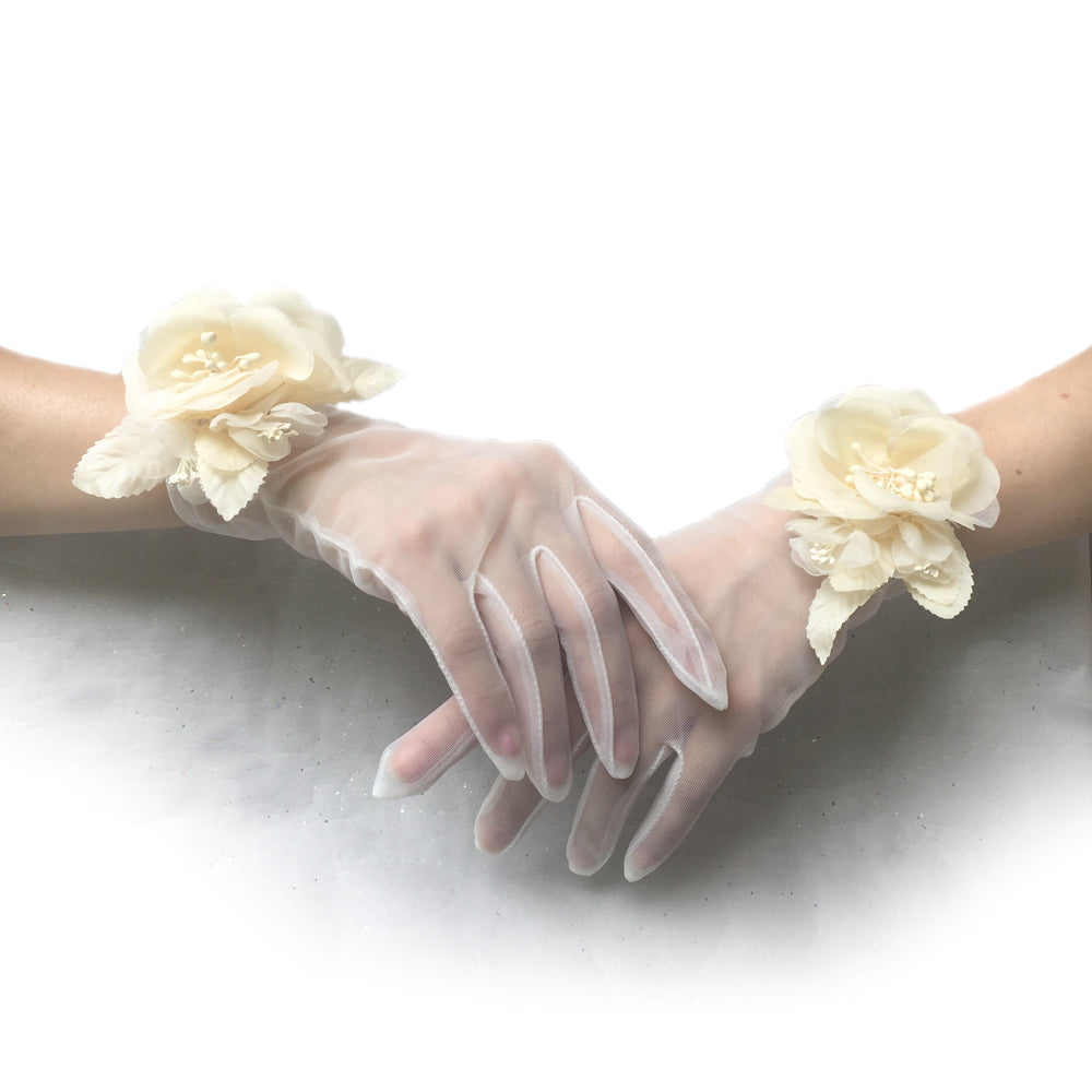 Off White Organza Gloves, Lace Wedding Gloves Ivory, Tea Party Gloves for Ladies