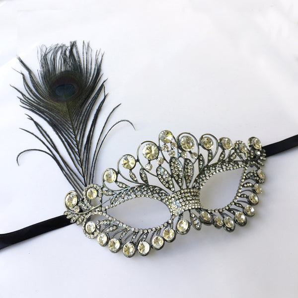 Black Rhinestone Wedding Mask, Black Masquerade Mask, Dance Makeup Masquerade Party