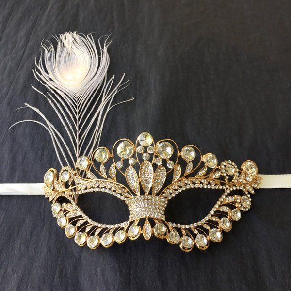 Gold Masquerade Mask, Masquerade Wedding, Gold Masquerade Ball Mask Women