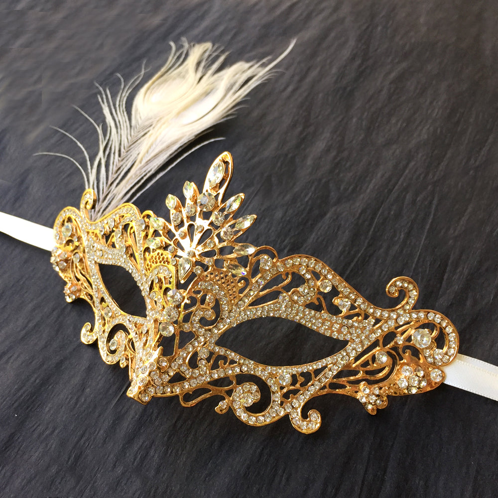 Gold Rhinestone Masquerade Mask with Peacock Feather, Masquerade Party, Costume Party Mask