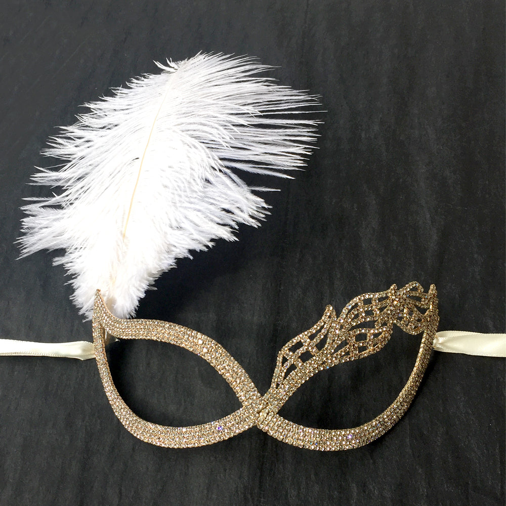 Masquerade Ball Mask, Masquerade Wedding Mask with White Ostrich Feather, Prom Mask, Formal Mask