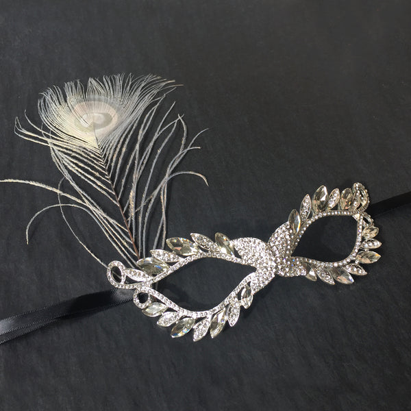 Peacock Feather Masquerade Mask, Gold Venetian Mask, Phantom of Opera