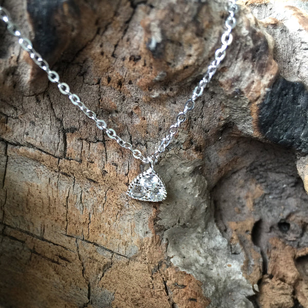 Sterling Silver Triangle Necklace with Crystal, Dainty Delicate Necklace, Sterling Silver Necklace