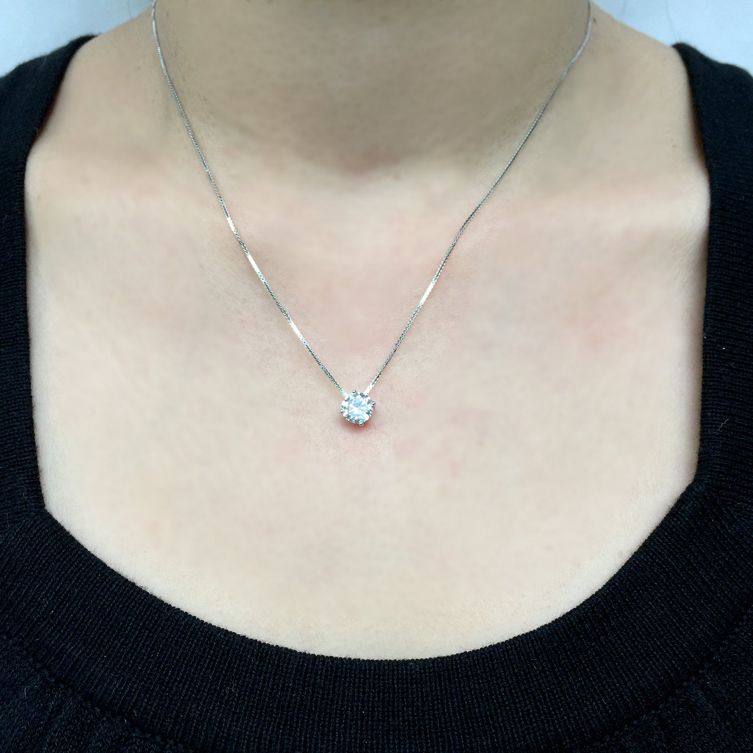 Crystal Necklace Sterling Silver, Tiny Crystal Charm Necklace, Minimalist Jewelry Silver, Gift for Mum