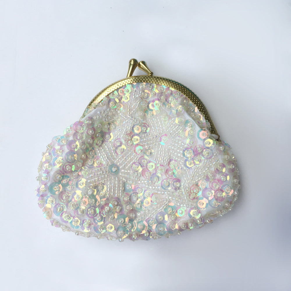 Vintage Style Sequin Coin Purse, Small Pouch, Bachelorette Party Favor Set, Hen Gift