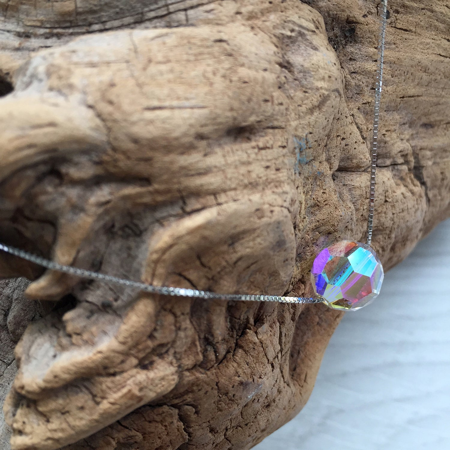 Floating Necklace Chain, AB Crystal Pendant Necklace, Mother Day, Gift Idea