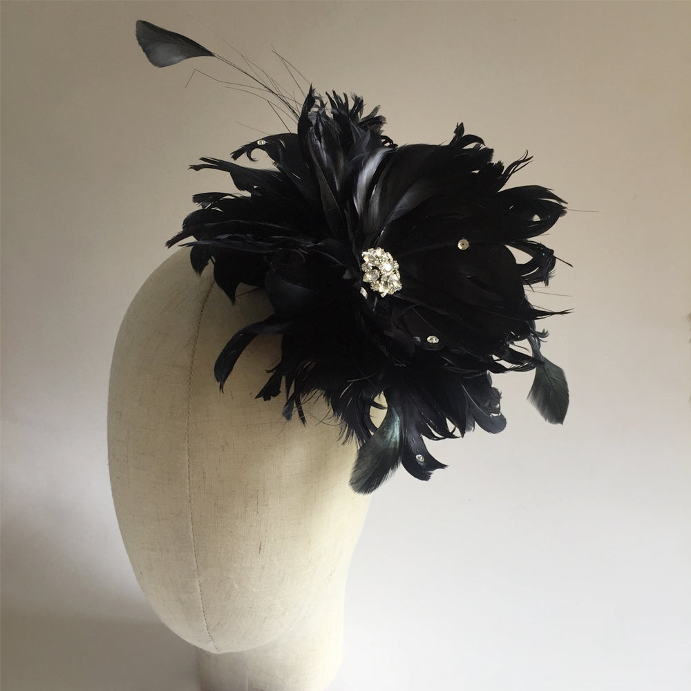 Black Wedding Brooch Fascinator, Black Feather and Rhinestone Fascinator Clip