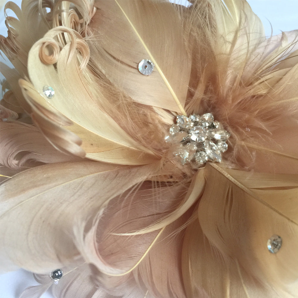Feather Flower and Rhinestone Brooch, Special Occasion Clip Fascinator, Birthday Hair Fascinator
