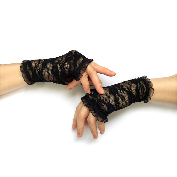 Black Gloves Womens, Black Fingerless Lace Gloves, Black Gloves