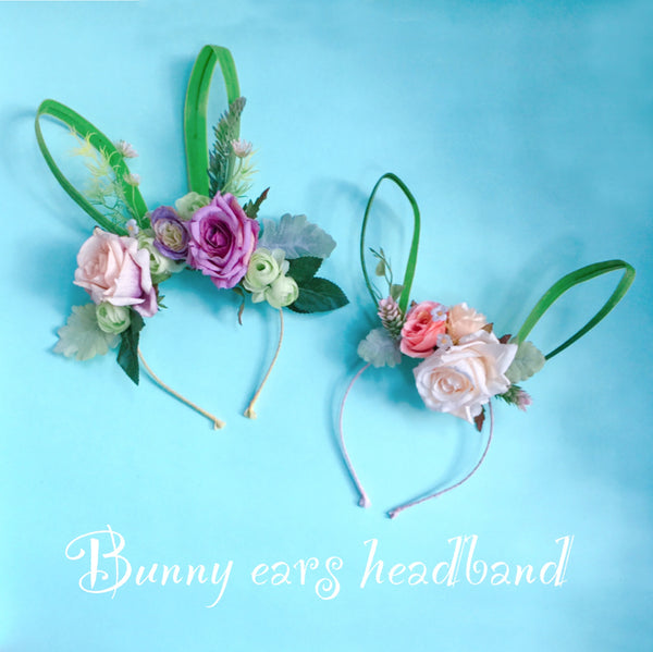 Floral Bunny Ears Headband, Floral Easter Bunny Ears, Kids & Adult Bunny Ears
