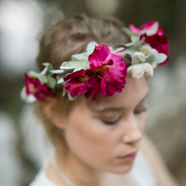 Orchid Flower Crown, Garden Flower Crown, Orchid Headpiece, Mexican