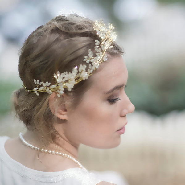 Gold Flower Crown, Bridal Hair Vine, Gold Wedding Hair Vine, Handmade