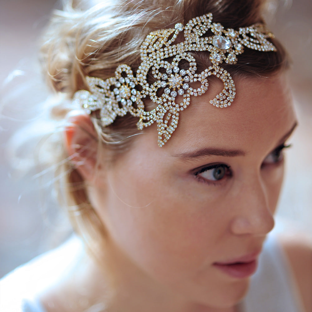 Gold Wedding Headpiece, Gold Bridal Headpiece, Gold Wedding Tiaras Headpieces