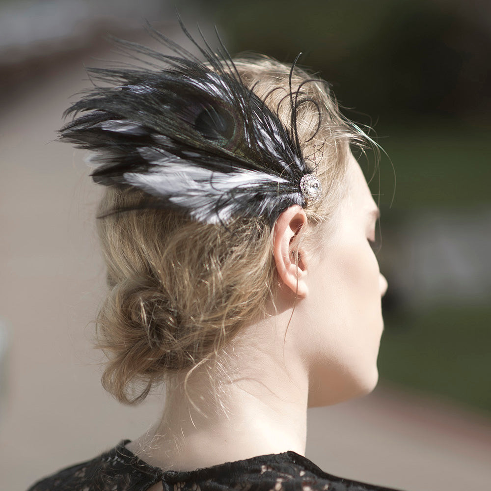 Black Feather Fascinator Hair Clip, Black and White Fascinator, Bridal Feather Hair Clip