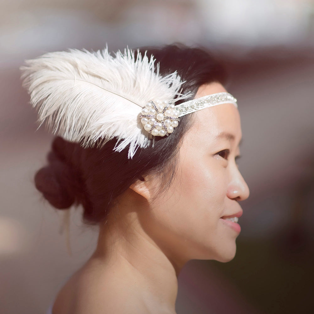 Flapper Headband with Feather, Art Deco Hair Accessory, Great Gatsby Costume