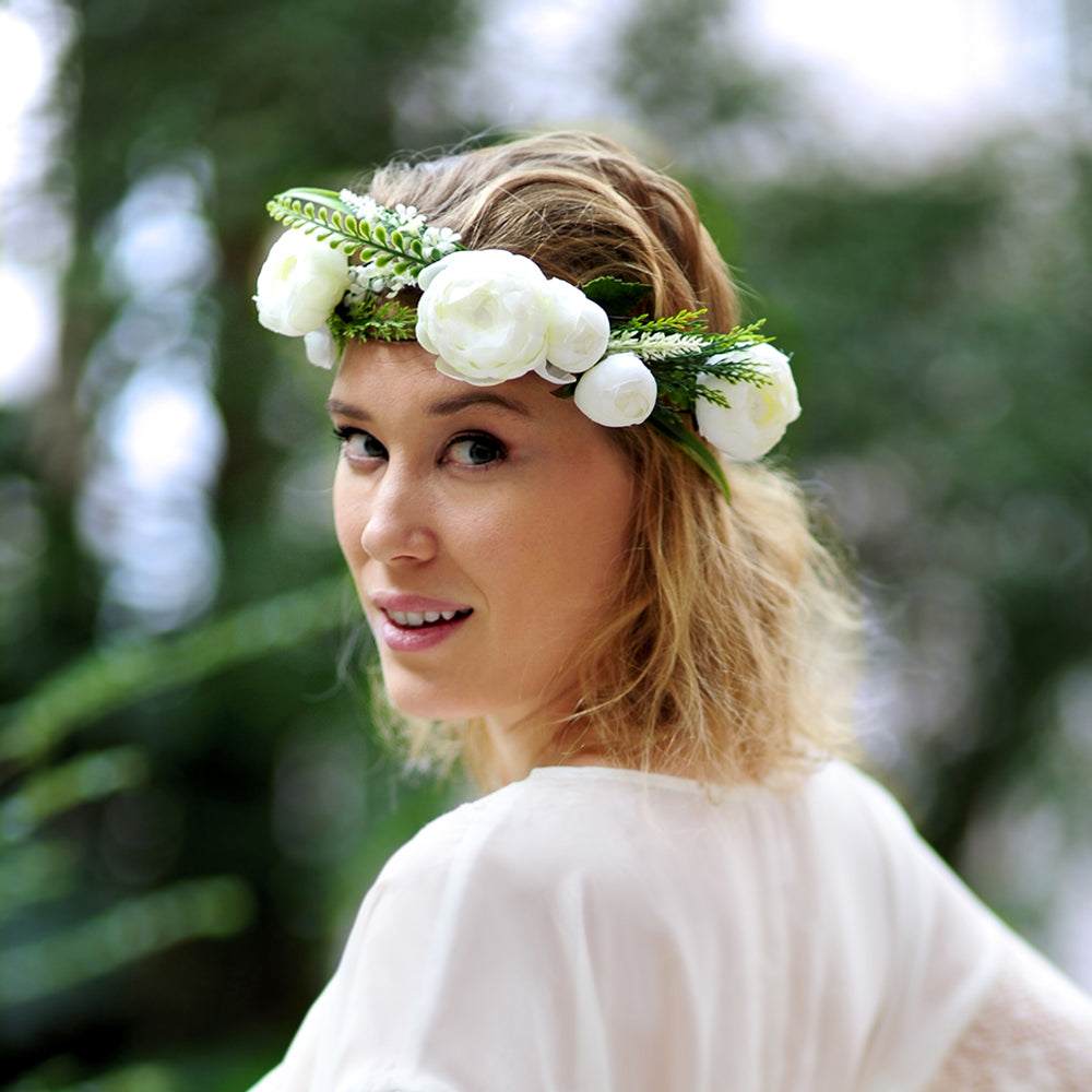 Greenery Wedding Flower Crown, Bridal Shower, Hen's Party, Boho Halo
