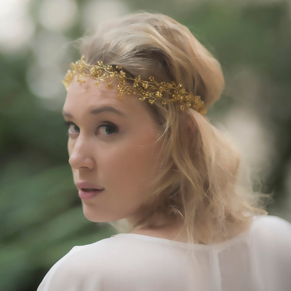 Grecian Headpiece Wedding, Bohemian Bridal Hair, Handmade Gold Circlet Crown