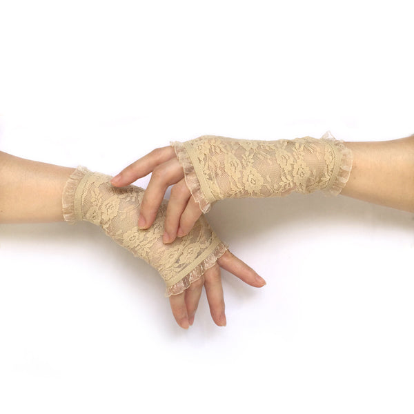Fingerless Gloves, Ivory Lace Gloves, Ivory Gloves