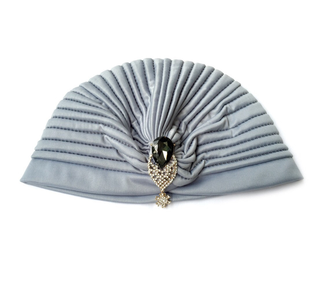 Grey Turban Hat, Gatsby Grey Stretched Hat with Leaf Rhinestone Jewelry