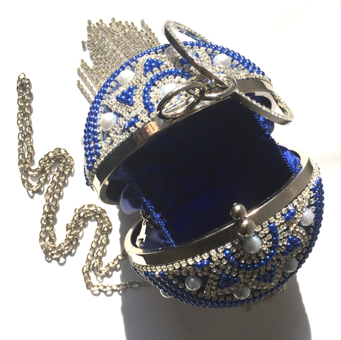 Ball Clutch Bag, Blue Clutch Bag, Rhinestone Clutch Purse