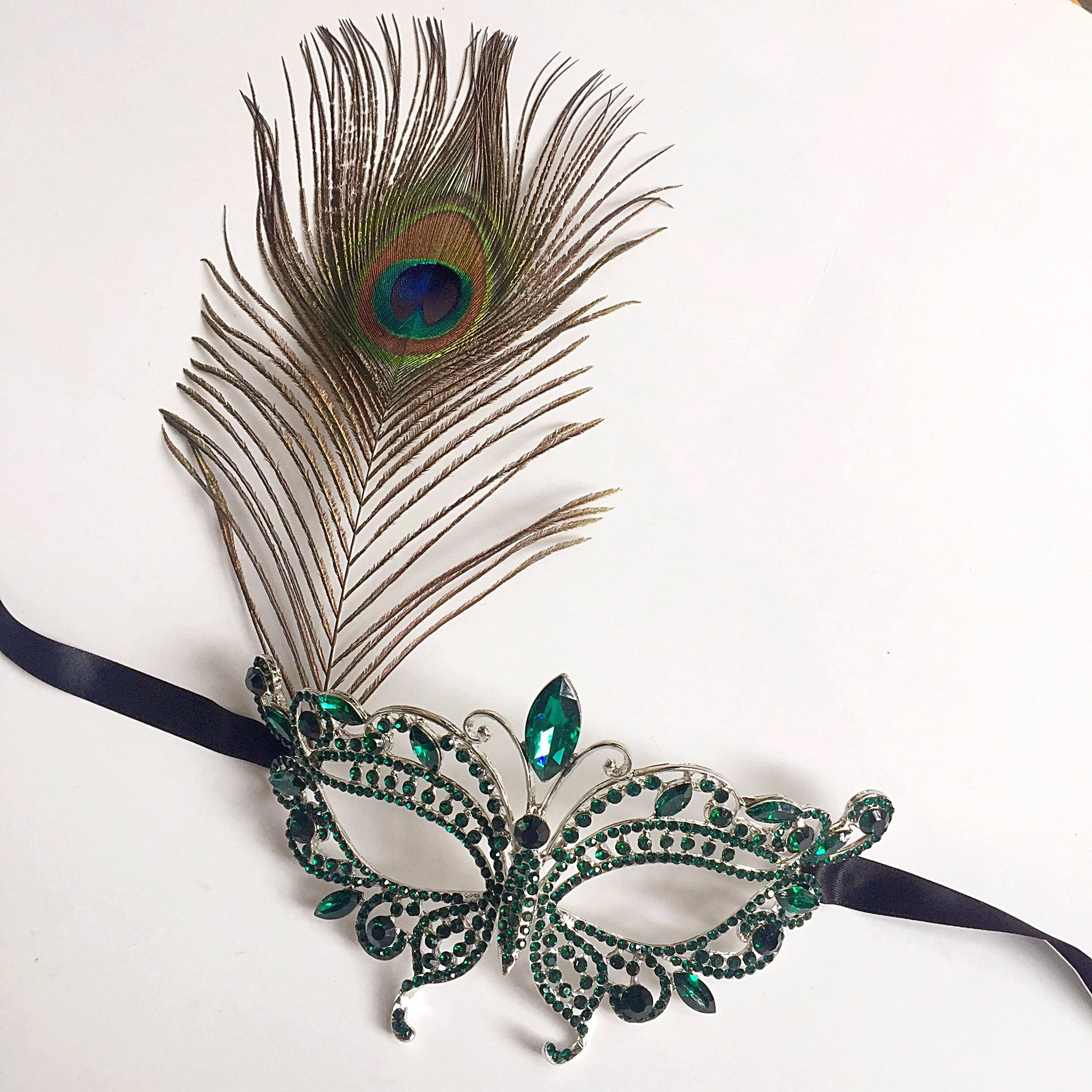 Green Masquerade Mask with Peacock Feather, Venetian Masquerade Carnival Party Eye Mask