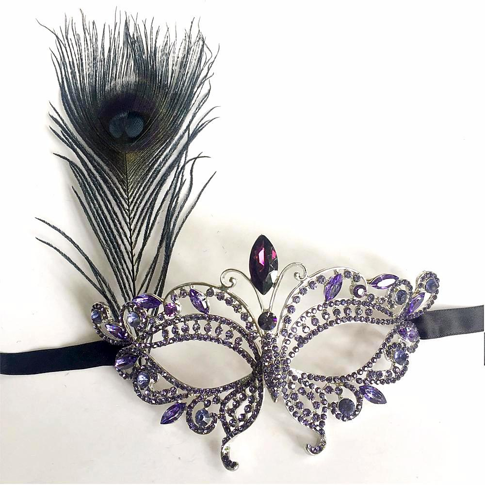 Purple Fancy Dress Party Mask, Feather Masquerade Ball Party Mardi Gras Mask Purple