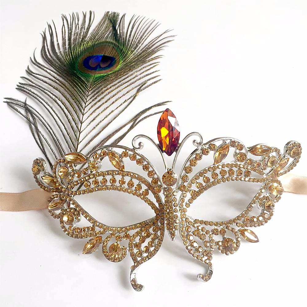 Gold Masquerade Mask with Peacock Feather, Elegant Masquerade Masks for Balls, Dance Costume