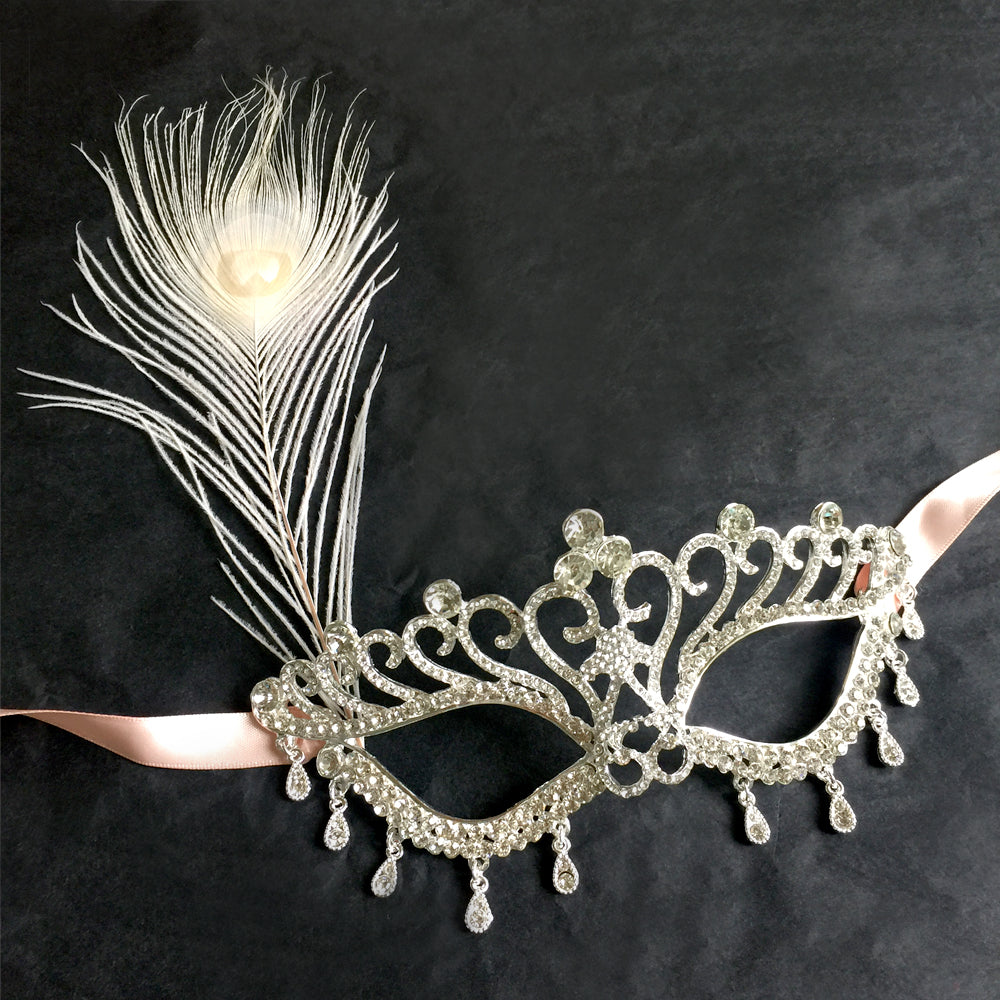 Makeup Dance Rhinestone Mask Half face, Wedding Bridal Mask, Rhinestone Carnival Mask