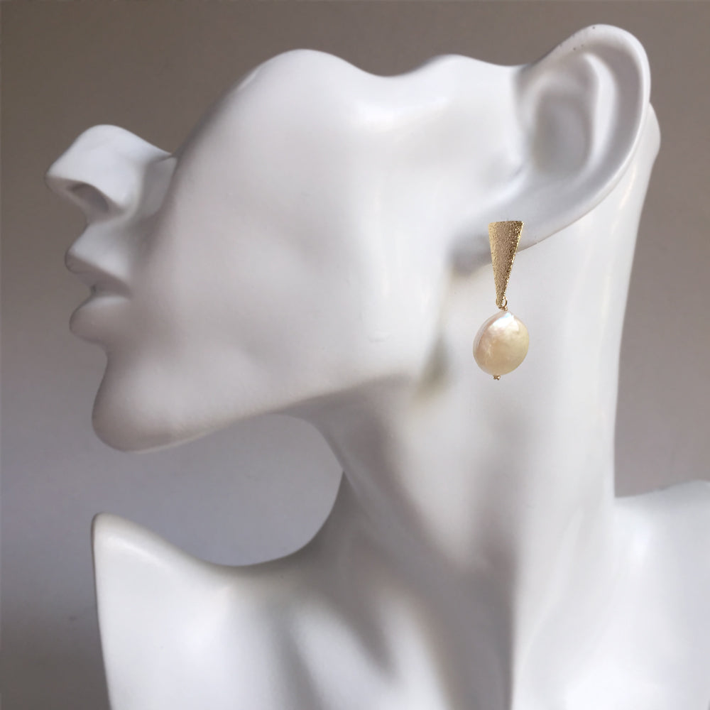 Pearl Earrings Drop Gold, Gift Ideas for Women, Natural Freshwater Coin Pearl Earrings