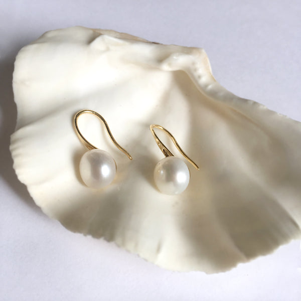 Simple Baroque Pearl Earrings, Pearl Dangle Earrings Gold, Birthday Gift