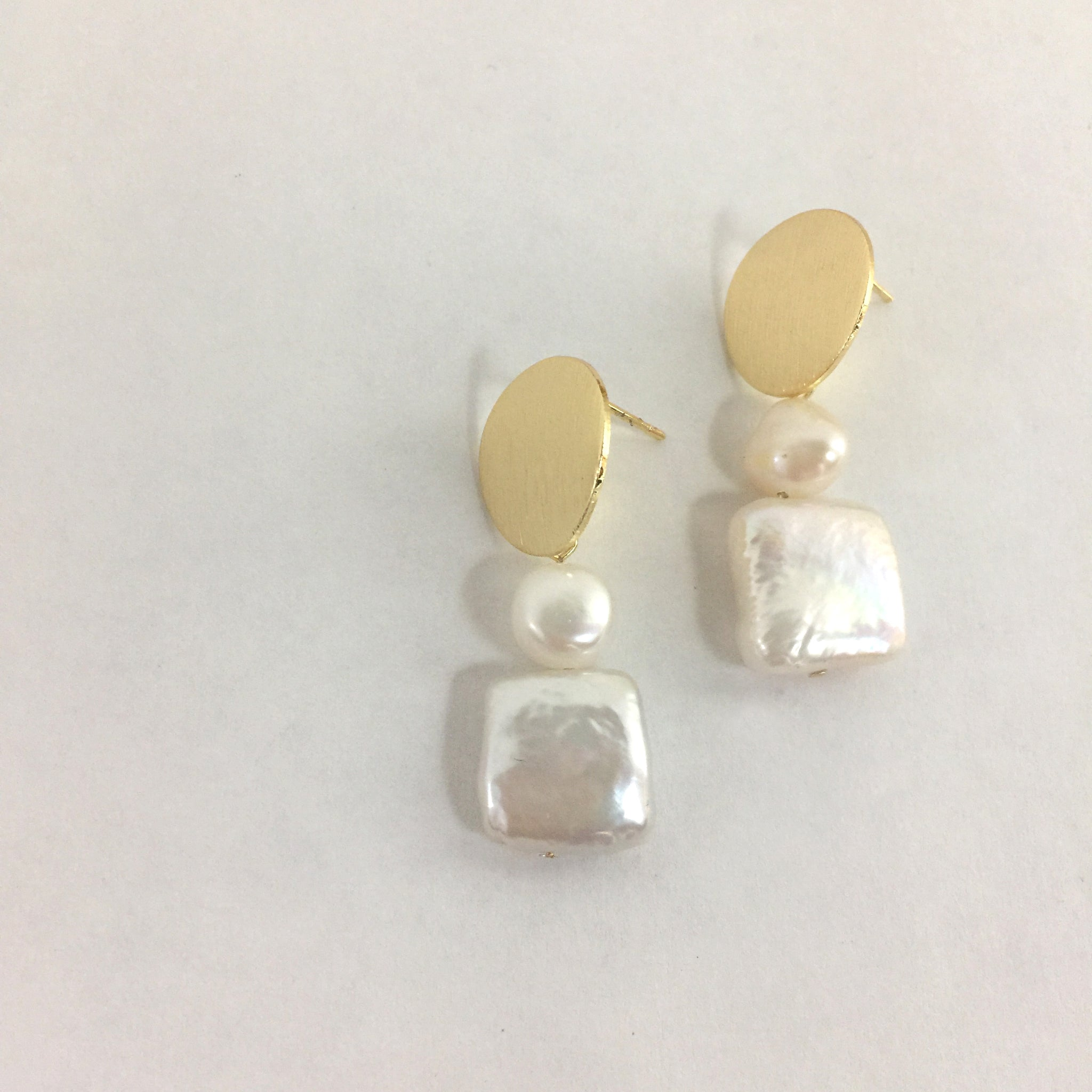 Baroque Pearl Drop Gold Earrings, Wedding Square Pearl Earrings, Gift Ideas