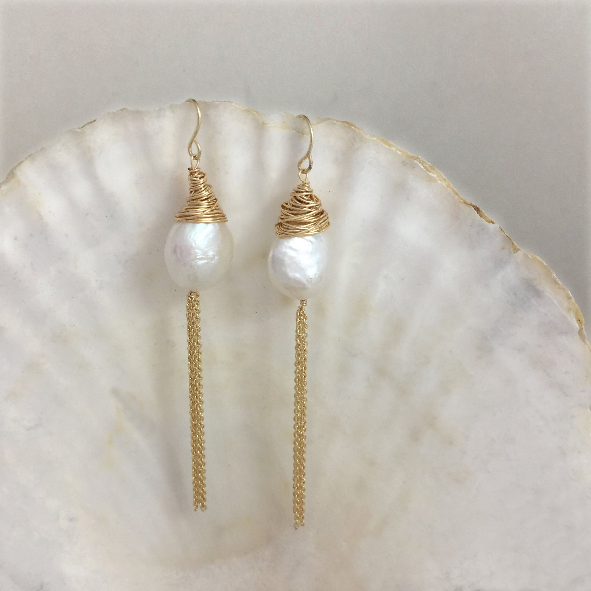Large Baroque Pearl Dangle Earrings 14k, Pearl Drop Earrings, Wedding Earrings