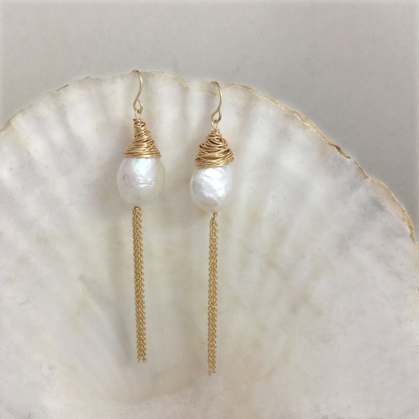 Large Baroque Pearl Dangle Earrings 14k, Pearl Drop Earrings