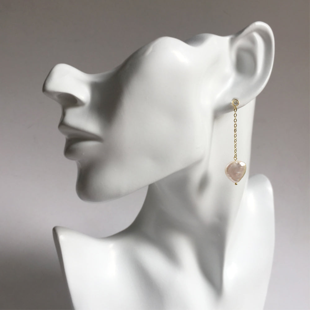 Heart Pearl Earrings Gold, Simple Pearl Drop Earrings, Pearl Heart Shaped Gold Earrings