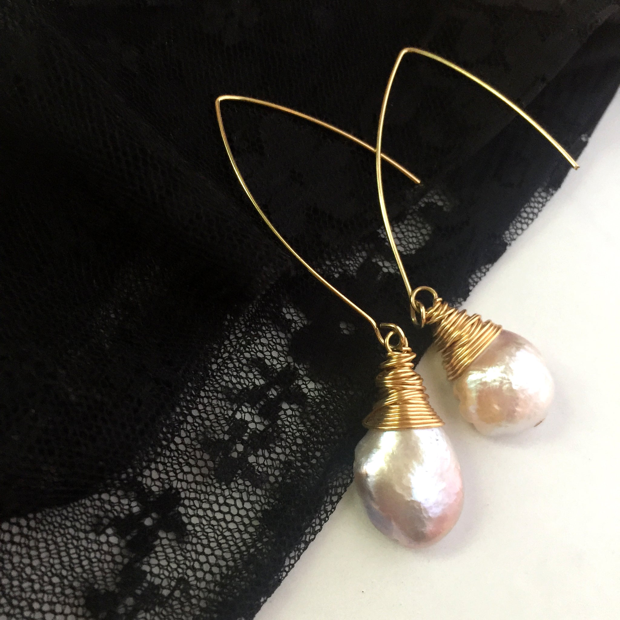 Bridal Baroque Pearl Drop Earrings, Boho Hippie Gypsy Pearl Earrings