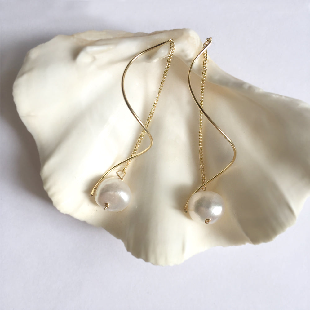 Pearl Gold Drop Earrings, Valentine's Day Baroque Pearl Drop Earrings, Gift Idea for Her
