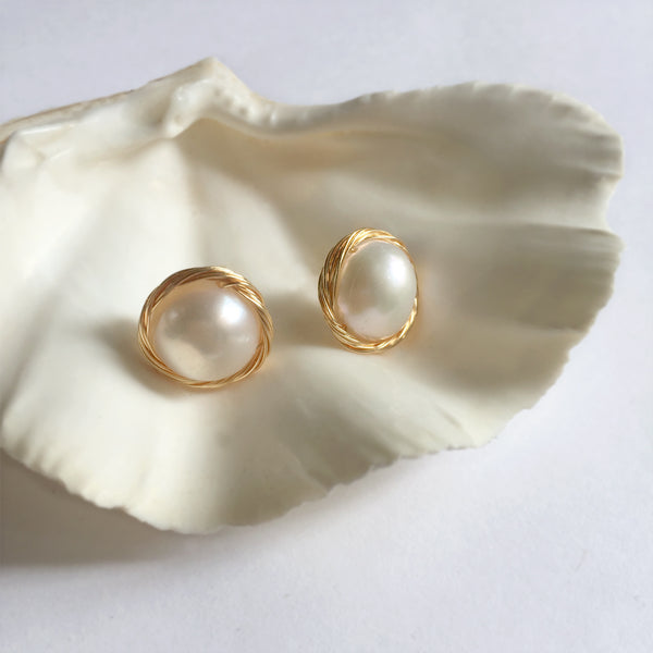 Simple Pearl Stud Earrings, Baroque Pearl Stud Gold Earrings, Gift for Mom
