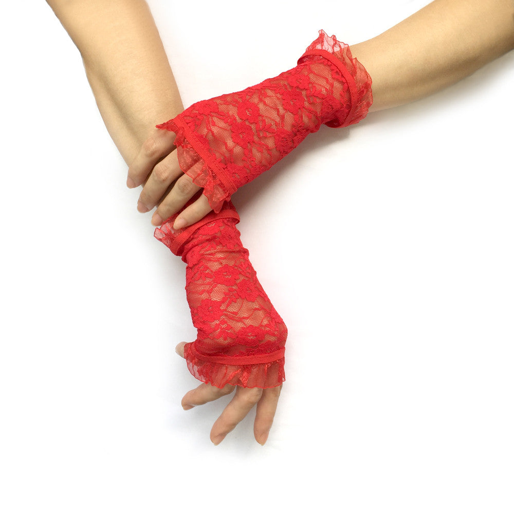Red Fingerless Gloves, Red Lace Gloves, Red Gloves