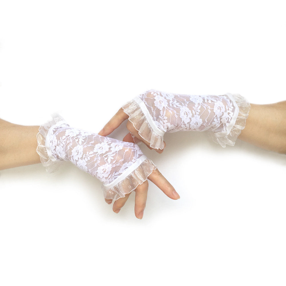 White Fingerless Bridal Gloves, White Lace Gloves Wedding, White Gloves