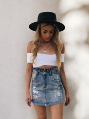 Hayden Scrunched High Waisted Denim Skirt