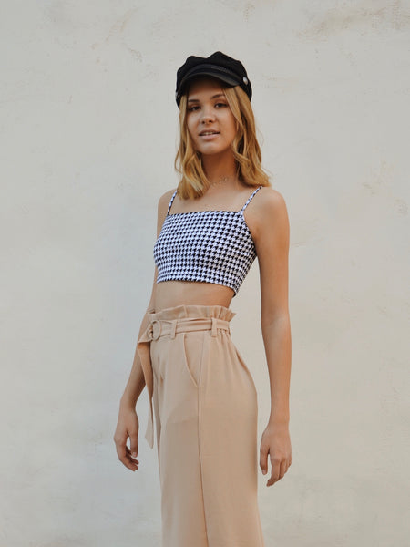 Kini Houndstooth Crop Top by Motel Rocks