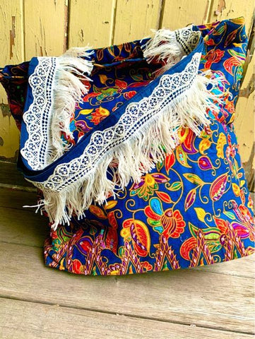 Hand Beaded Tote Bag in Exotic Indigo