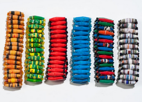 Wide parallel bead bracelet