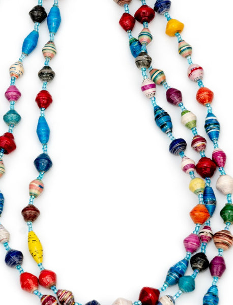 Multi-coloured long necklace