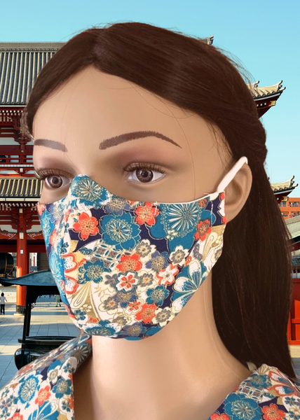 Kimono Blue: 3-Layer Mask with FREE SHIPPING