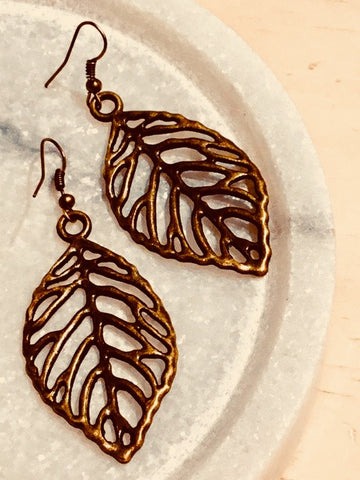 Bronze Leaf Line Earrings (Large) - Free Shipping